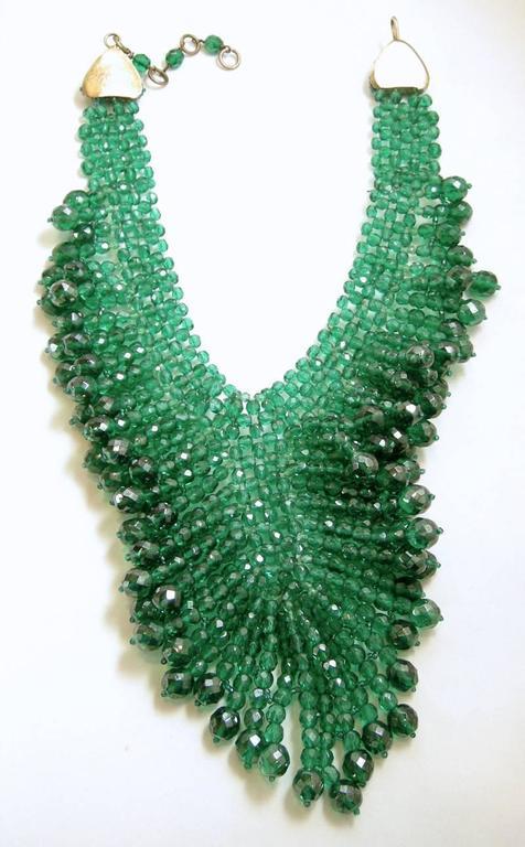 Vintage 1950's Coppola e Toppo Italy 2-Tone Green Glass Bead Bib Necklace 3