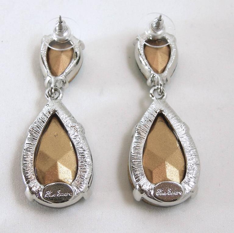 Signed Steve Sasco Rich Pierced Emerald Rhinestone Drop Earrings 2