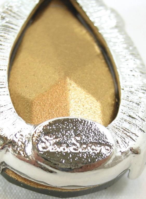 Signed Steve Sasco Rich Pierced Emerald Rhinestone Drop Earrings 3