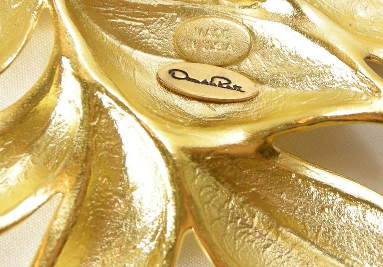 Oscar De La Renta Golden Leafy Floral Necklace 2