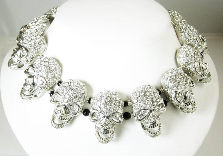 One of a Kind Robert Sorrell Silver Tone Skull Necklace 2