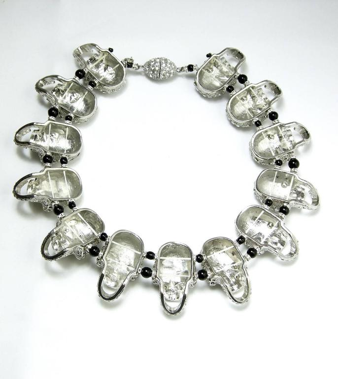 One of a Kind Robert Sorrell Silver Tone Skull Necklace 4