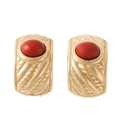 Christian Dior Vintage Painted Stone Clip On Earrings