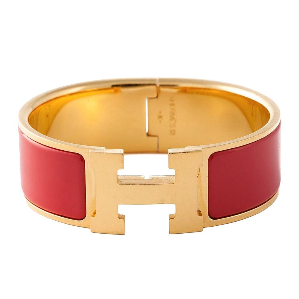 herm s 39 clic clac h 39 red bracelet at 1stdibs. Black Bedroom Furniture Sets. Home Design Ideas