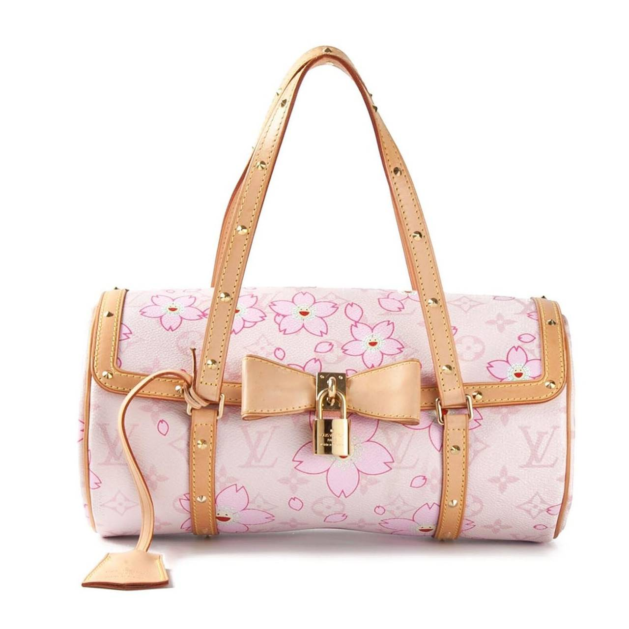 Louis vuitton cherry blossom monogram barrel bag at 1stdibs this multicoloured leather louis vuitton x takashi murakami cherry blossom monogram papillon bag features a mightylinksfo
