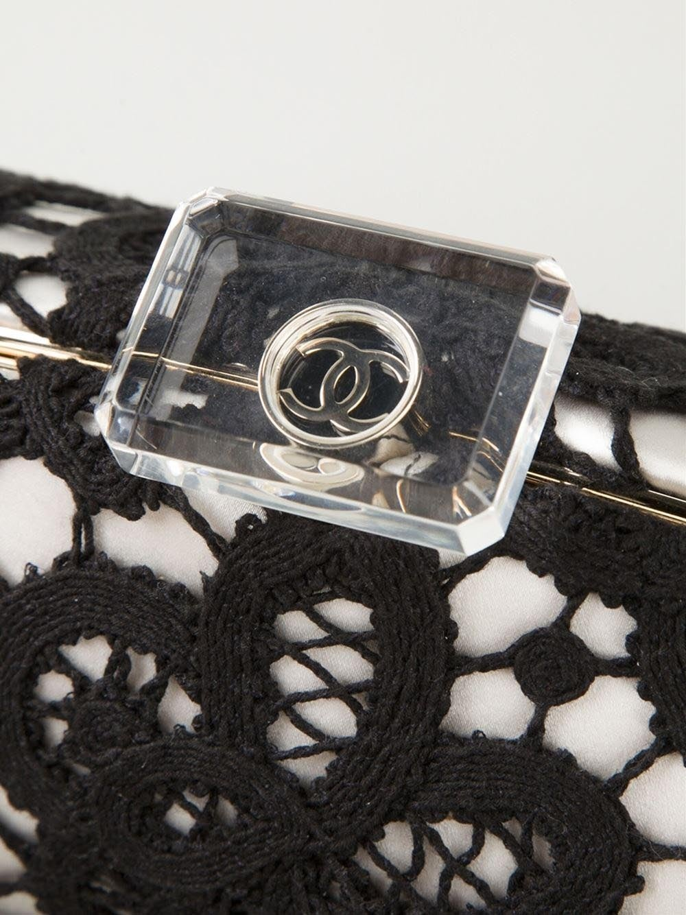 Women's Chanel Large Floral Lace Clutch For Sale