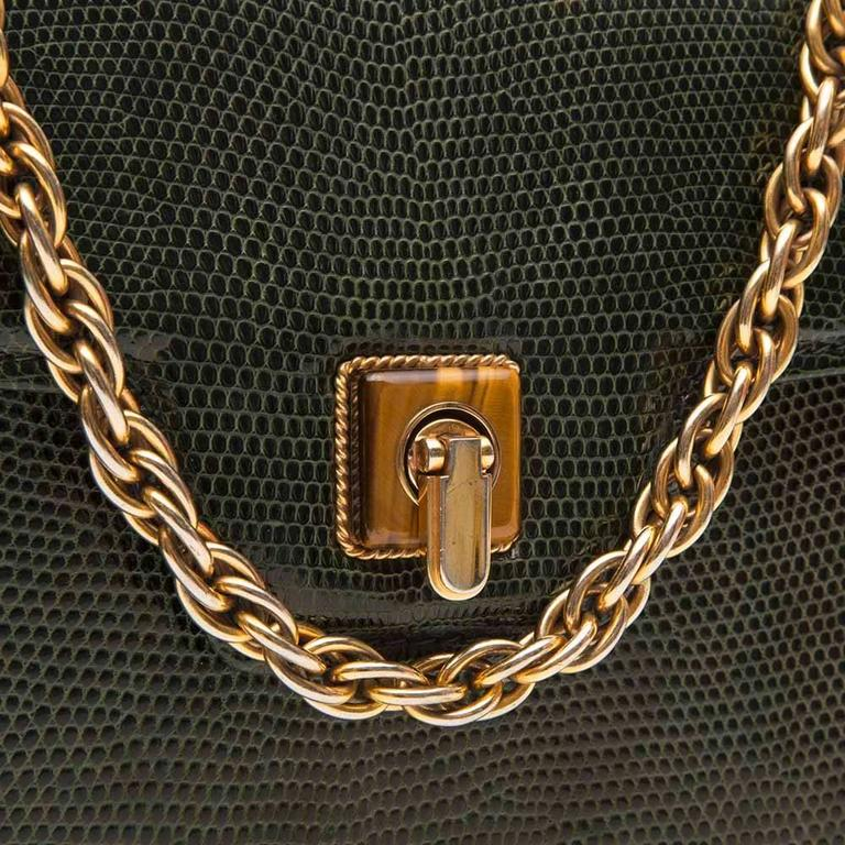 Gucci Vintage Lizard Skin Handbag For Sale 2