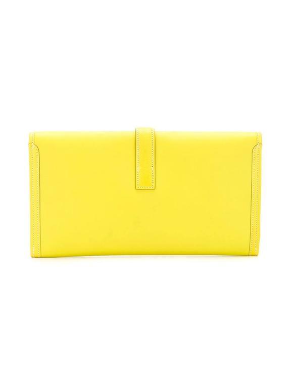 Yellow Hermes Jige Elan 29cm Clutch For Sale