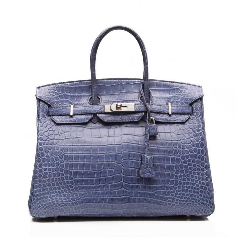 Hermes Porosus Crocodile Leather Birkin Bag In Matte Brighton Blue Featuring Palladium Hardware The Interior