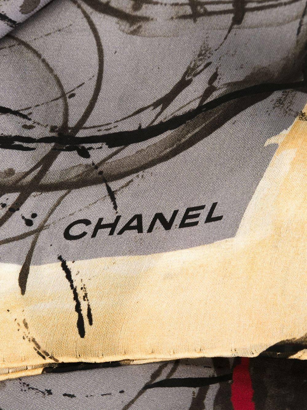 Chanel Print Art: Chanel Abstract Print Scarf At 1stdibs