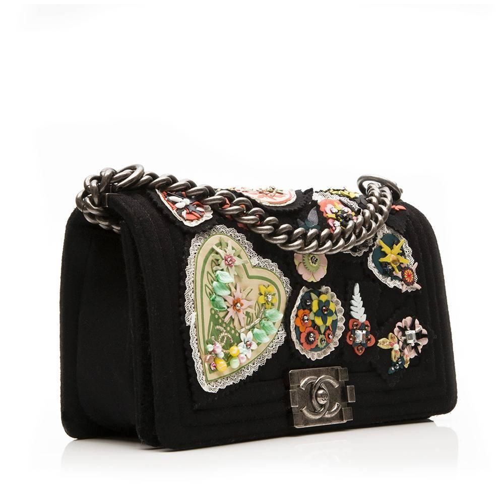 Chanel Floral Applique U0026#39;Boyu0026#39; Shoulder Bag At 1stdibs