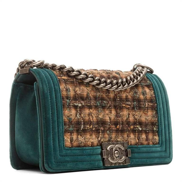332283d064ef Chanel Tweed Velvet Boy Bag For Sale. Classic design gets a textured update  in this teal and tweed Boy bag. In good