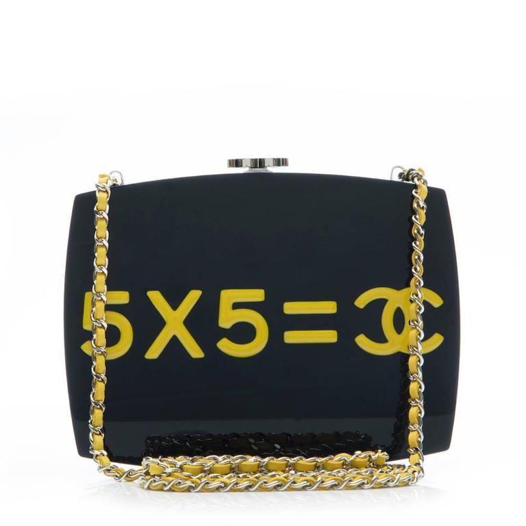 Chanel Navy Plexiglass Equation Bag 7