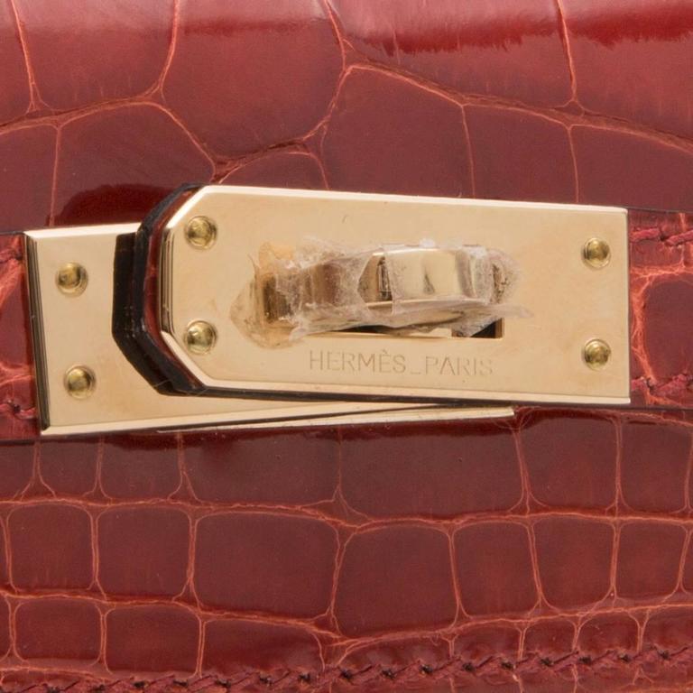Hermes Brown Alligator Kelly Pochette Bag BRAND NEW 4