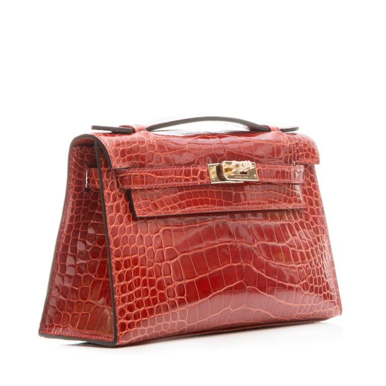 Hermes Brown Alligator Kelly Pochette Bag BRAND NEW 6