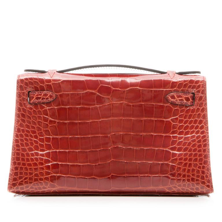 Hermes Brown Alligator Kelly Pochette Bag BRAND NEW 7