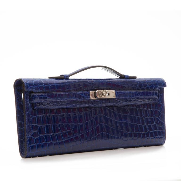 Black Hermes Electric Blue Kelly Cut Pochette Clutch BRAND NEW For Sale