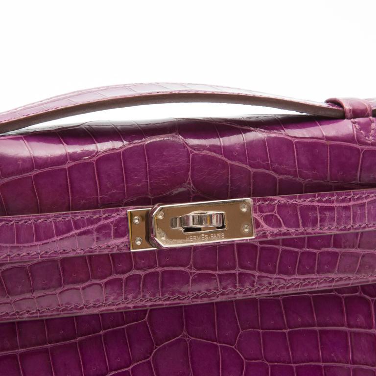 Hermes Niloticus Crocodile Kelly Pochette Bag 7