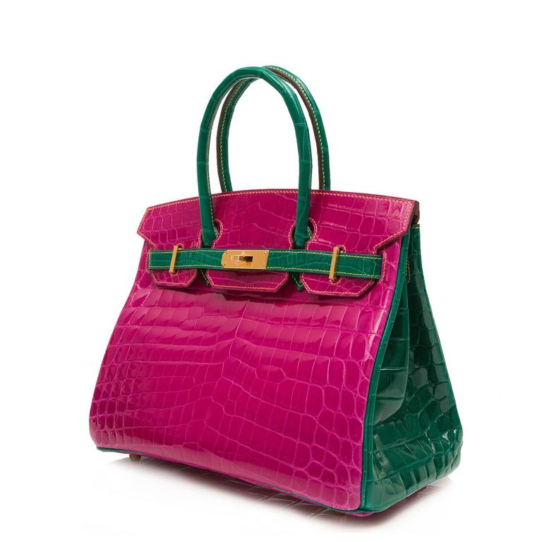 Hermes Two colour Rose Scheherazade Emerald Green Birkin 30 cm at ...