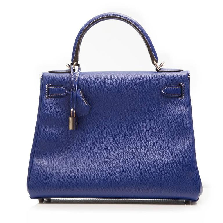 Kelly Blue Iris 25 cm Handbag In New Never_worn Condition For Sale In London, GB