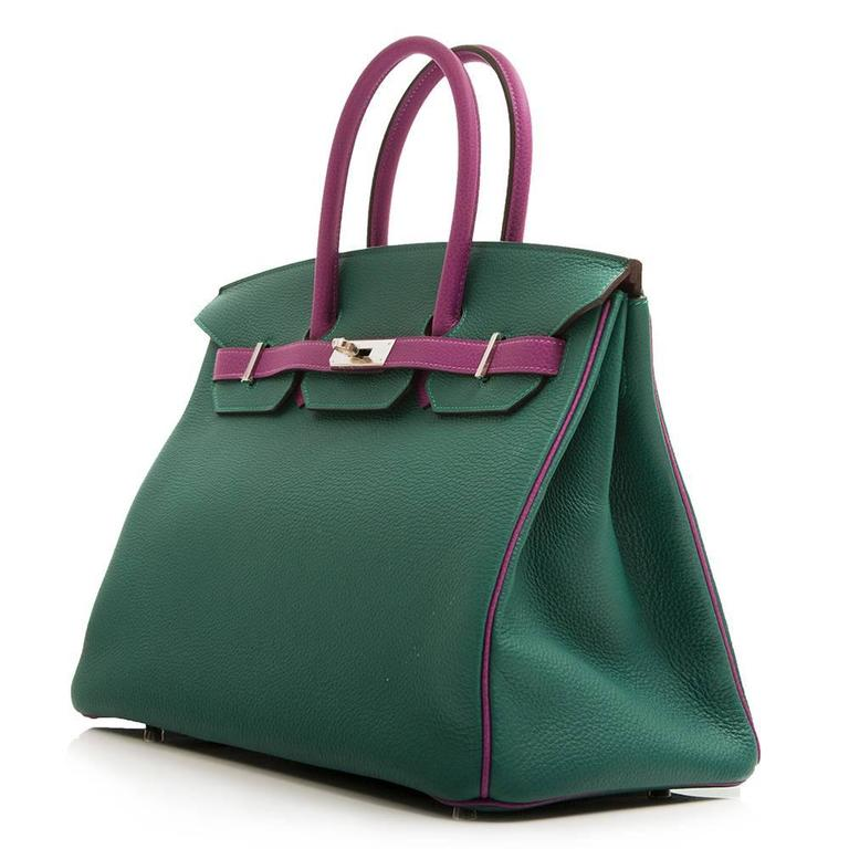 This special order Hermès Birkin bag features a striking combination of oceanic hues. Its Malachite green exterior is offset with Anemone purple handles, piping and belt arms. It is rendered in Clemence leather, a favoured Hermès hide for its