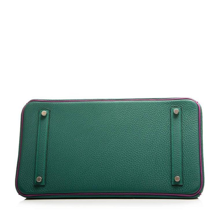 Black  Hermès Bi-Tone Malachite Green /Anemone  Birkin 35 Handbag For Sale