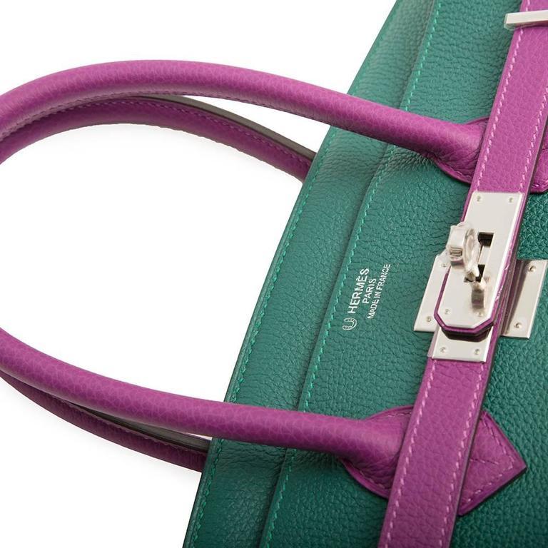Hermès Bi-Tone Malachite Green /Anemone  Birkin 35 Handbag In New Never_worn Condition For Sale In London, GB
