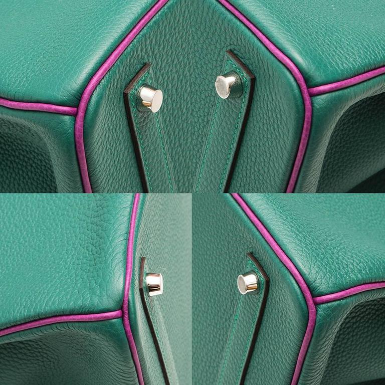 Hermès Bi-Tone Malachite Green /Anemone  Birkin 35 Handbag For Sale 1