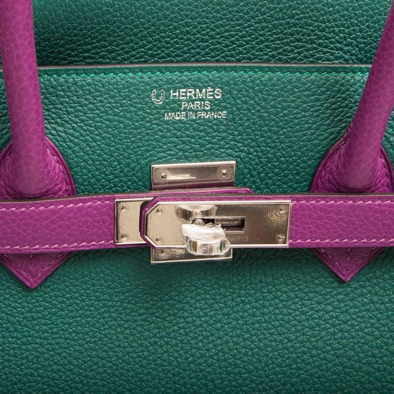 Women's  Hermès Bi-Tone Malachite Green /Anemone  Birkin 35 Handbag For Sale