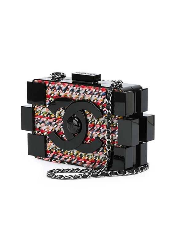 Chanel Tweed and Plexiglass Lego Crossbody Bag 2