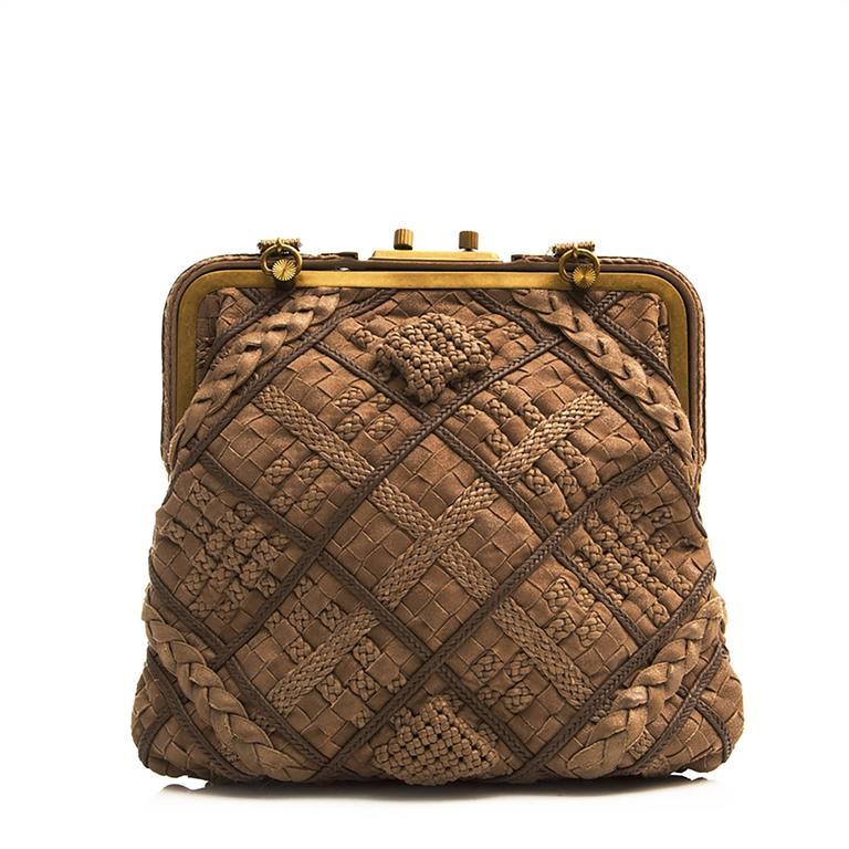 Bottega Veneta Brown Intrecciato Leather Clutch Bag In Good Condition For Sale In London, GB