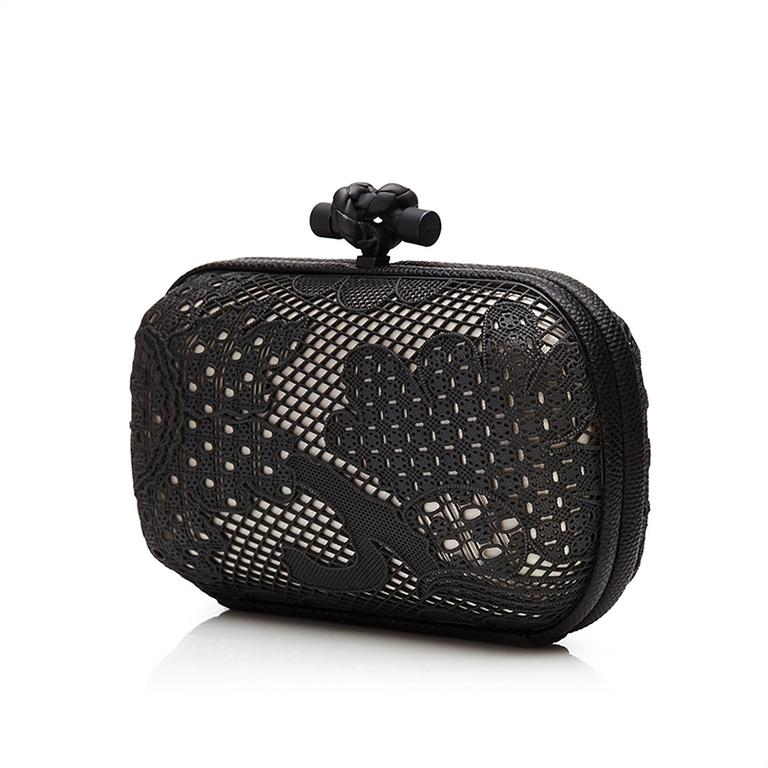 Bottega Veneta Black and White Lace Detail Knot Clutch Bag 2