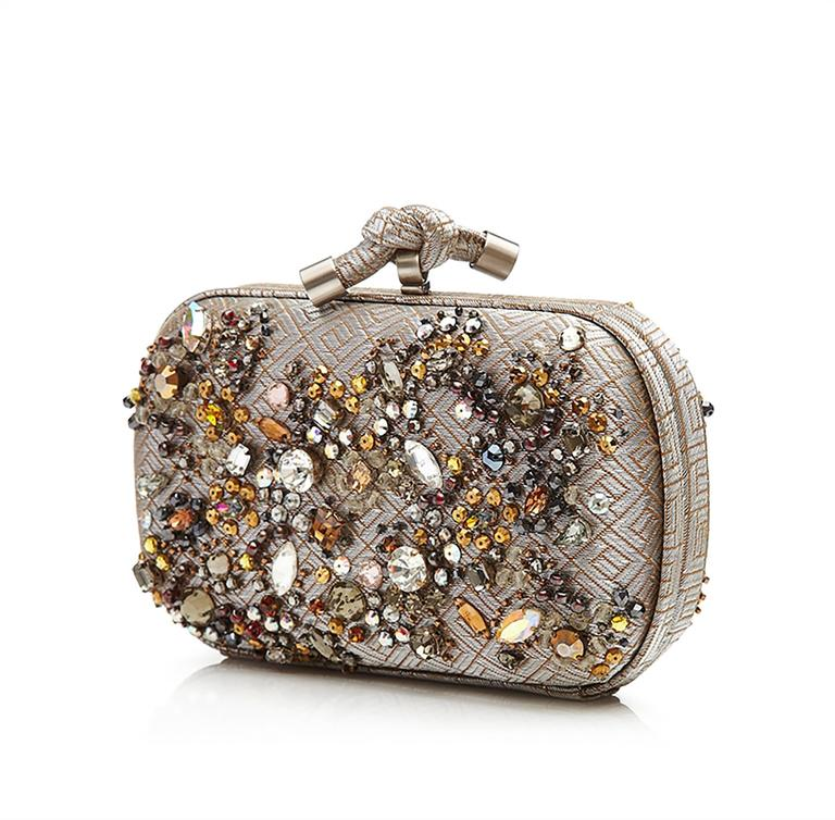 Bottega Veneta Crystal Embellished Knot Clutch Bag 2