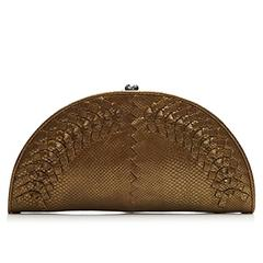 Bottega Veneta Metallic Bronze Intrecciato Leather Crescent-Shaped Clutch Bag