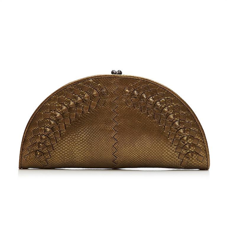 Brown Bottega Veneta Metallic Bronze Intrecciato Leather Crescent-Shaped Clutch Bag For Sale