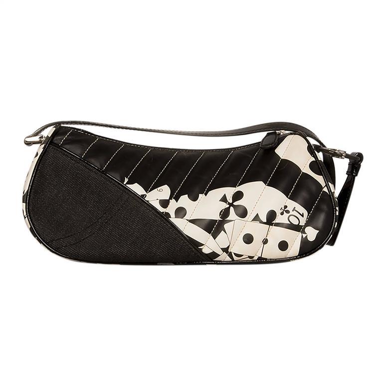 Black Christian Dior Denim and Leather Bag For Sale