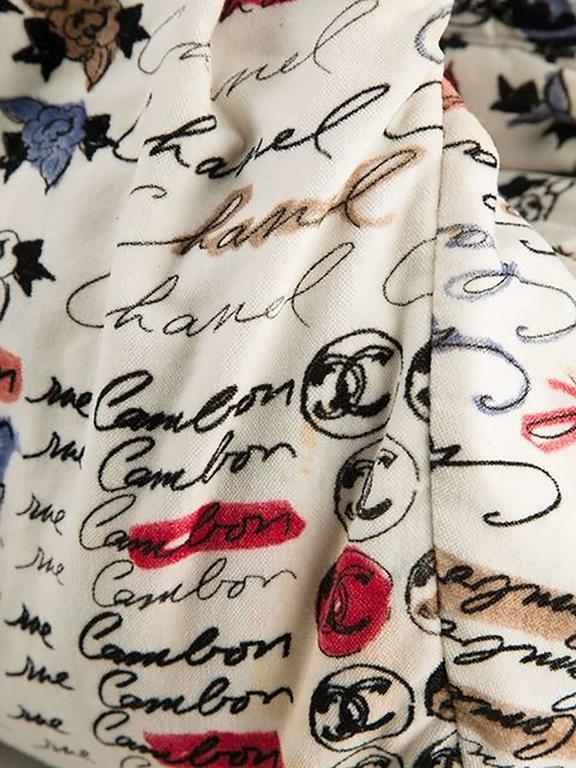 Chanel Velvet Logo Printed Tote Handbag 5