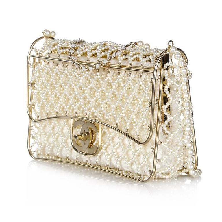 Beige Chanel Pearl Classic Flap Bag For Sale
