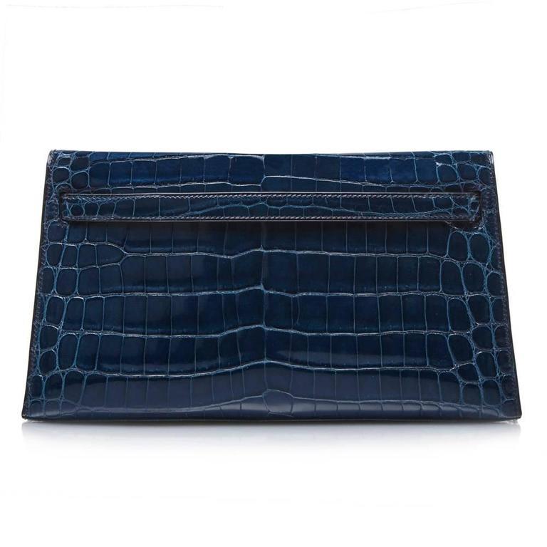 Black Hermes Bleu Petrole Niloticus Crocodile Kelly Pochette Elan Clutch RARE For Sale