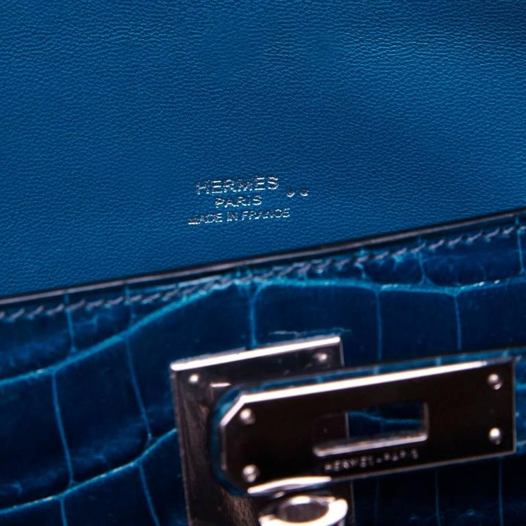 Hermes Bleu Petrole Niloticus Crocodile Kelly Pochette Elan Clutch RARE In Excellent Condition For Sale In London, GB