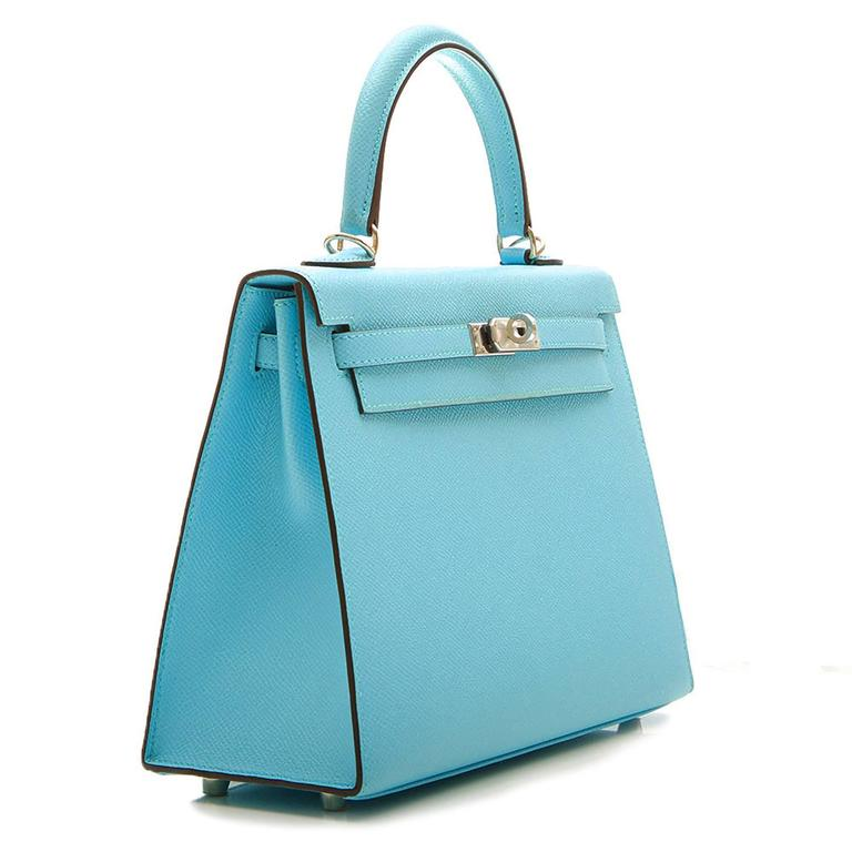 Hermes 25 Kelly Blue Atoll Brand New In New Never_worn Condition For Sale In London, GB