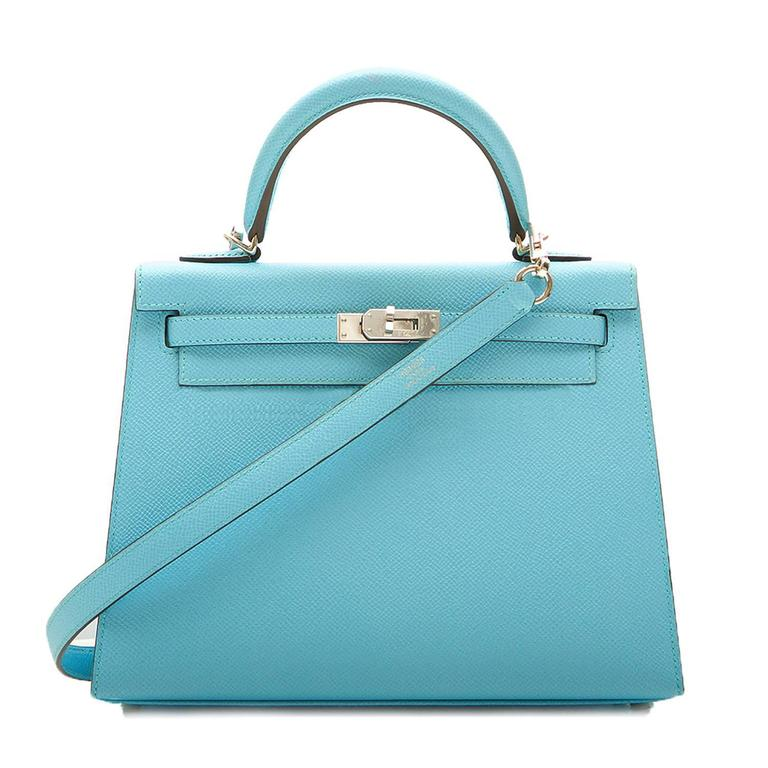 Hermes 25 Kelly Blue Atoll Brand New For Sale 1