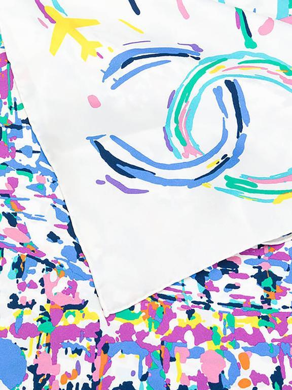 chanel cream multicolour scarf 2