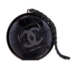 Vintage Chanel Black Globe Minaudiere Clutch