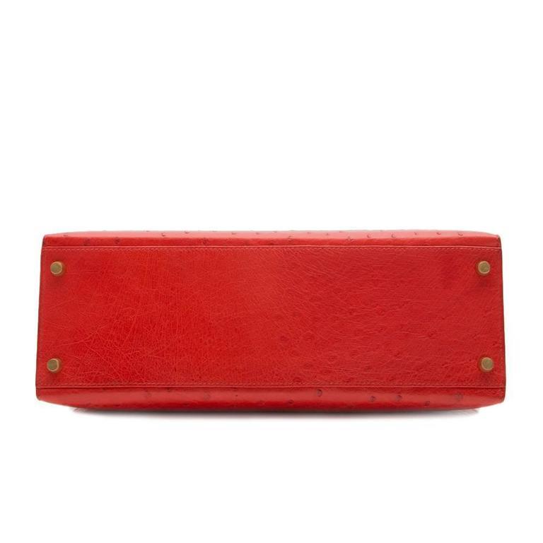 Hermès Vintage Rouge Vif 32cm Kelly in Ostrich Leather 5
