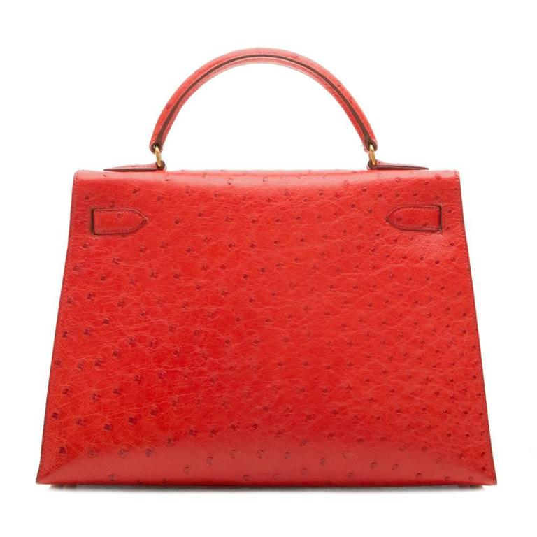 Red Hermès Vintage Rouge Vif 32cm Kelly in Ostrich Leather For Sale