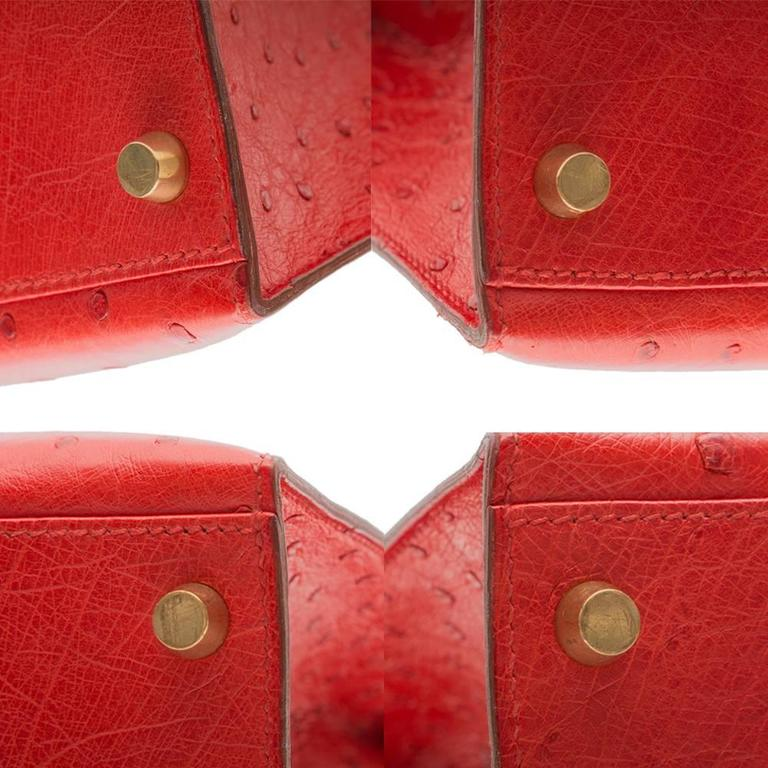Hermès Vintage Rouge Vif 32cm Kelly in Ostrich Leather 9