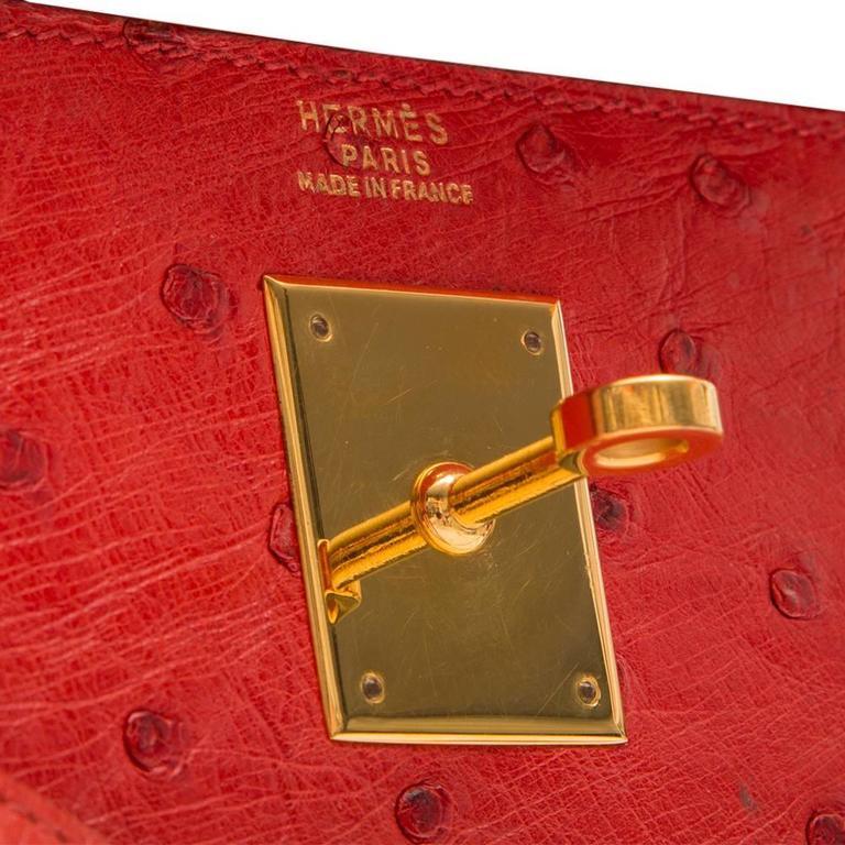 Hermès Vintage Rouge Vif 32cm Kelly in Ostrich Leather 7