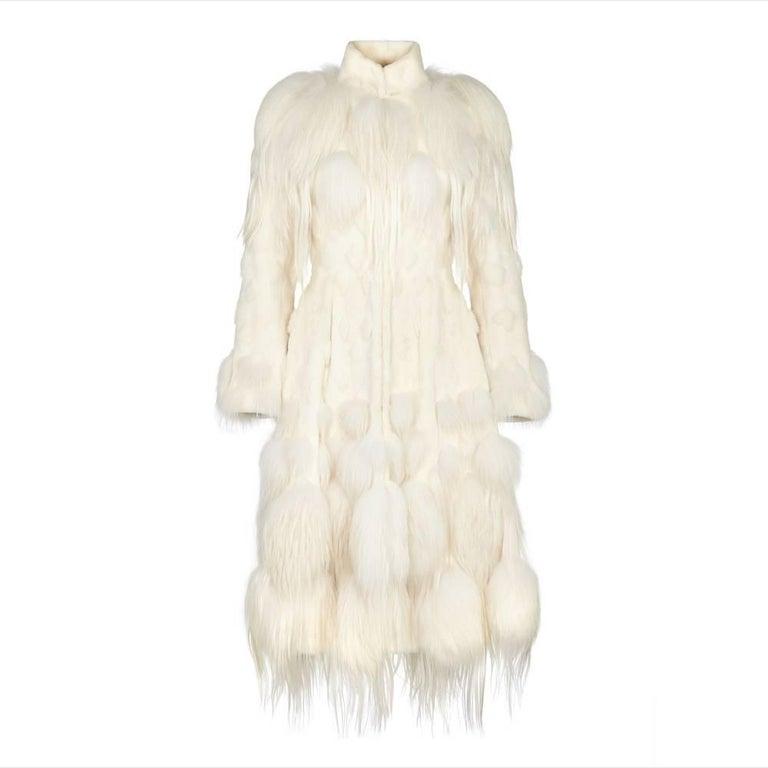 Alexander McQueen White Fur Coat For Sale