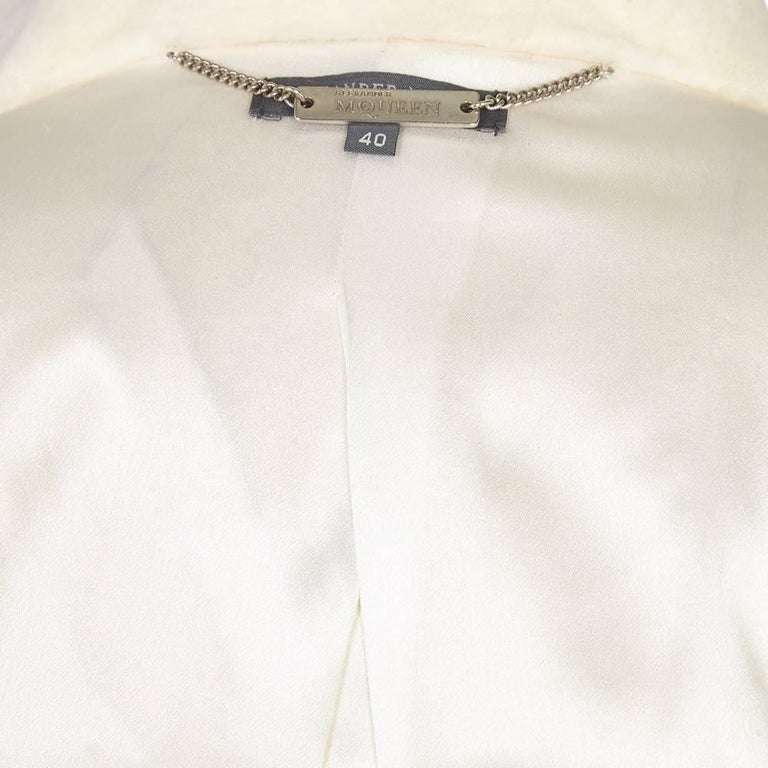Alexander McQueen White Fur Coat For Sale 2